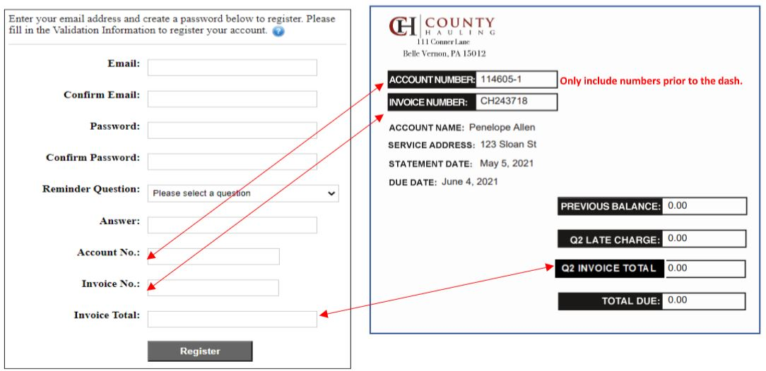 County Hauling - Bill Pay Instructions 2
